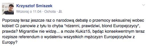 Krzysztof Śmiszek wytyka podwójne standardy wobec sprawców molestowania seksualnego