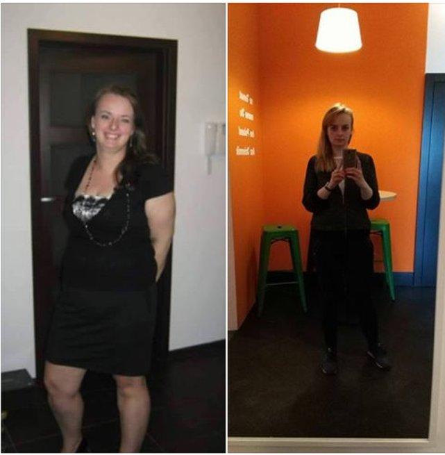 Ania przed i po. W sumie, przez rok, schudła 30 kg.