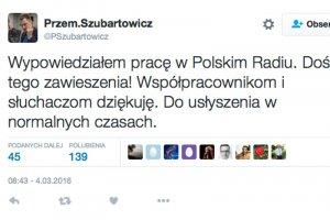 Przemysław Szubartowicz odchodzi z radiowej Jedynki.