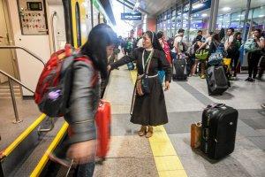 Pielgrzymi przyjeżdżający do Krakowa.
