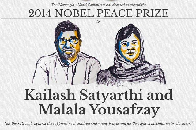 Laureatami Pokojowej Nagrody Nobla zostali  Kailash Satyarthi i Malala Yousafzay