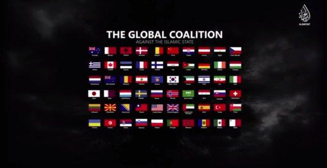 Flagi państw wrogich Kalifatowi.