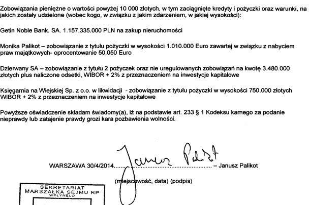 Wszystkie długi Janusza Palikota, ponad dwukrotnie przewyższają jego majątek.