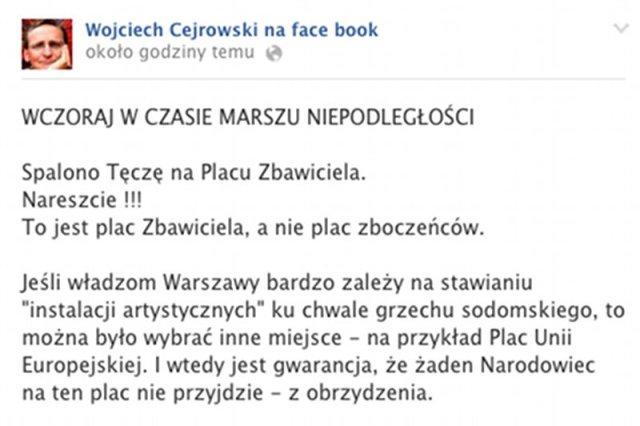Fragment Kontrowersyjnej wypowiedź Wojciecha Cejrowskiego o tęczy i Marszu Niepodległości na Facebook.com