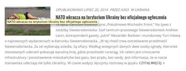 Według portalu wolna-polska.pl wojska NATO pomagają Ukrainie w rzezi mieszkańców Donbasu