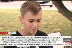 12-letni Kuba z Bydgoszczy nie pozostał bierny na próbę ucieczki sprawcy kolizji.