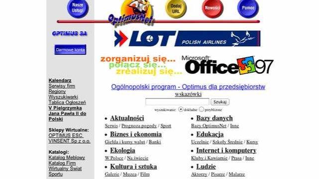 Onet w 1997 roku, jeszcze jako OptimusNet