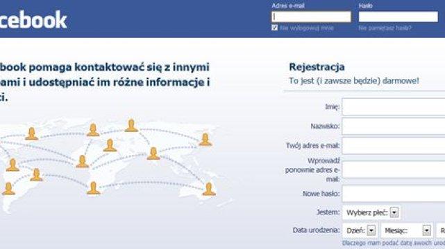 Strona logowania FB.