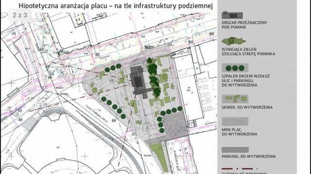 W centralnym punkcie placu znajdzie się pomnik. Będą także drzewa i krzewy.