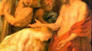 """""""Chrystus i Maria Magdalena"""" pędzla Petera Paula Rubensa. Scena z Łk 23:26-28. Szymon Cyrenejczyk przedstawiony w lewym górnym rogu"""