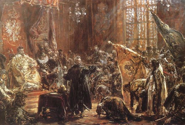 Carowie Szujscy na sejmie warszawskim, szkic do obrazu, Jan Matejko.