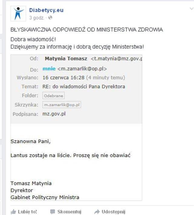 E-mail od Tomasza Matyni, dyrektora Gabinetu Politycznego Ministra Zdrowia