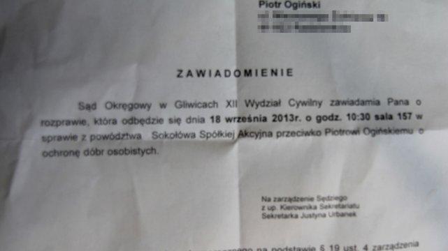 Pozew, który od Sokołowa dostał Piotr Ogiński - kliknij, aby zobaczyć więcej