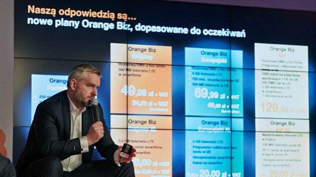 Wiceprezes zarządu Orange Polska ds. Rynku Biznesowego Mariusz Gaca przedstawia nową ofertę telekomu dla firm