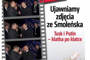 """Na okładce """"Do Rzeczy"""" pokazano kilka zdjęć Donalda Tuska rozmawiającego z Władimirem Putinem w Smoleńsku."""