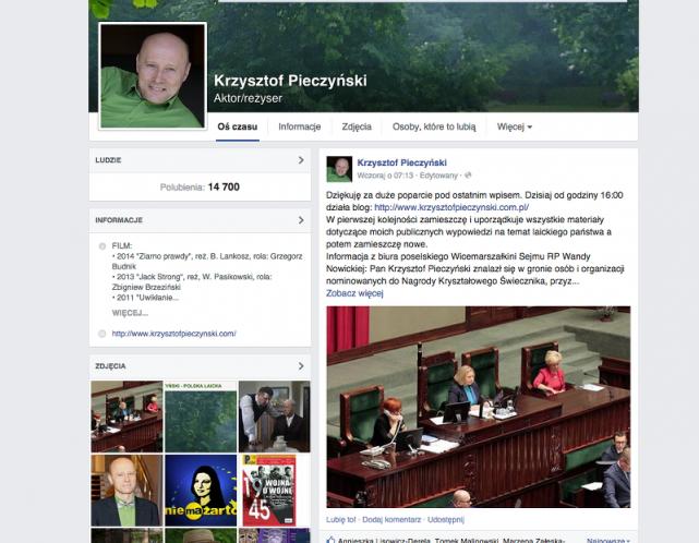 Krzysztof Pieczyński ma grono zwolenników na Facebooku