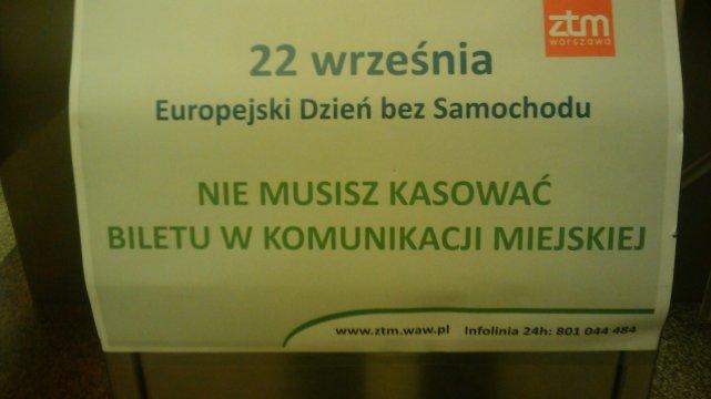 Europejski Dzień bez Samochodu w Warszawie