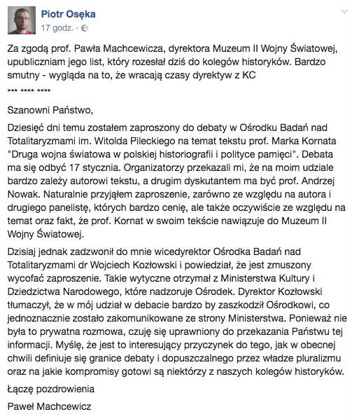 List dyr. Muzeum II Wojny Światowej prof Piotra Machcewicz