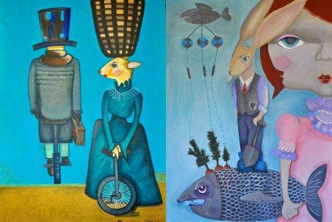 Acryle na płótnie Magdaleny Latosiewicz - tu wszystko jest możliwe, od kozy na monocyklu po uczłowieczonego zająca - fana tytoniu, sadzącego marchewki w rybie.