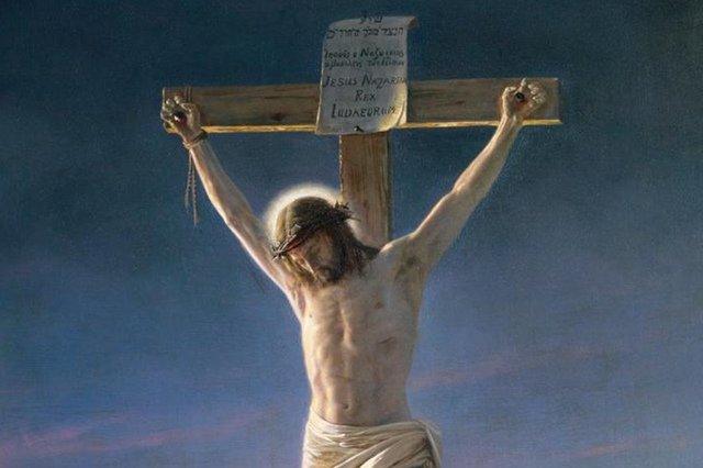 "Fragment obrazu ""Chrystus na krzyżu"" Carla Blocha"