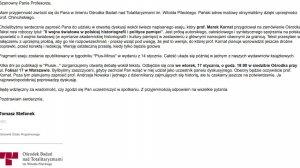 Zaproszenie wysłane do prof Pawła Machcewicz