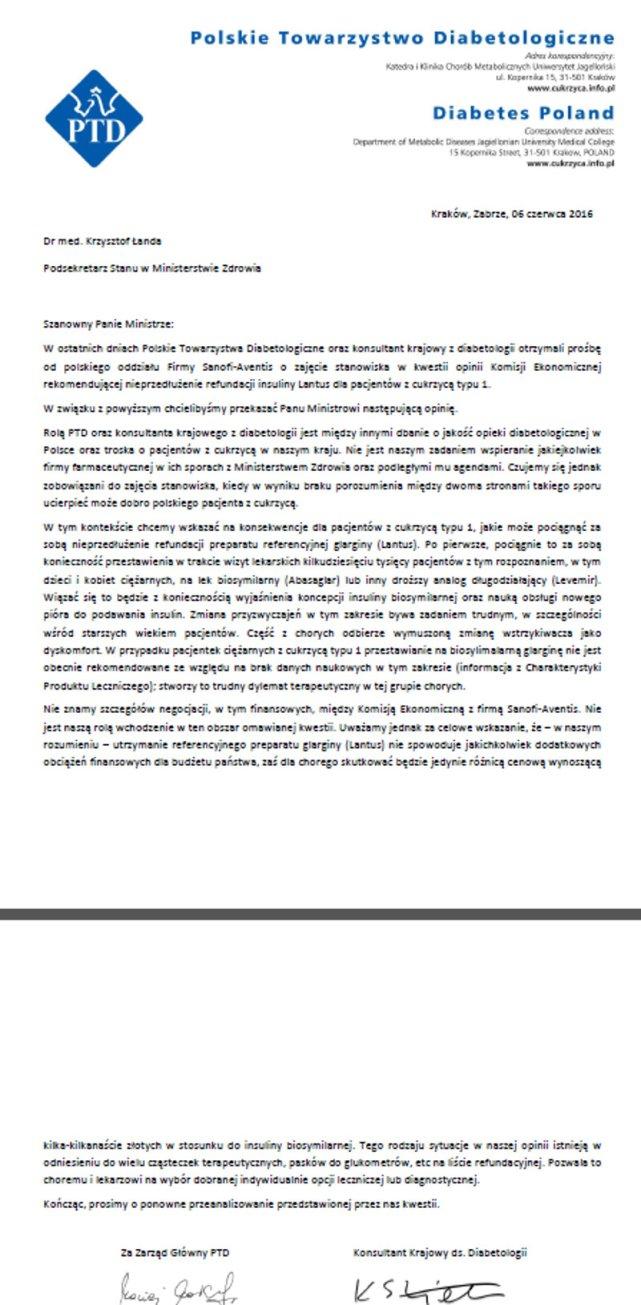 Pismo PTD do wiceministra zdrowia Krzysztofa Łandy