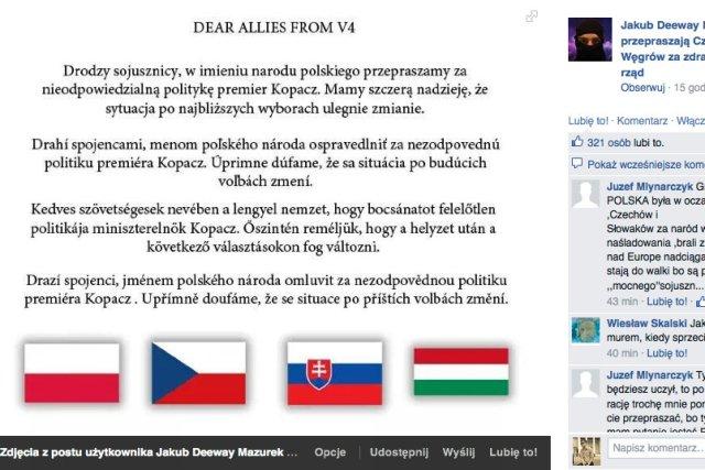 """Polscy internauci przepraszają członków Grupy Wyszehradzkiej za """"zdradę, której dokonał polski rząd"""""""